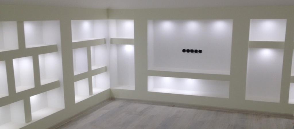 Фото полок из гипсокартона с подсветкой